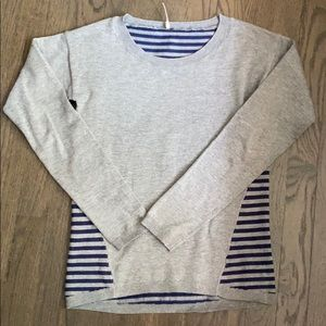 Poof Gray Solid and Blue Stripes Crew Neck Sweater